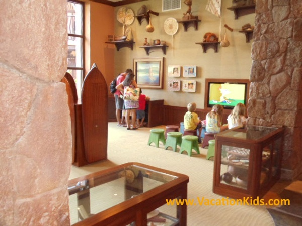 At Disney Aulani, while parents check in Kids have their own area just across the lobby full of interactive activities that will keep their attention while grown ups take care of business.