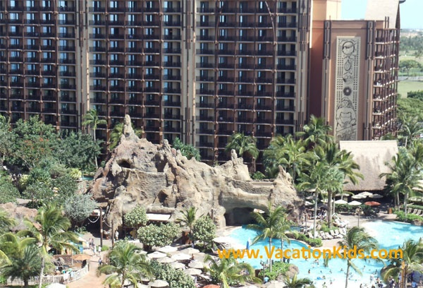 Many rooms at Disney Aulani overlook the pools with a view of the ocean beyond