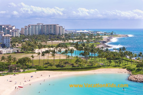 A view of three of the five bays at Ko Olina resort area of Oahu. Disney Aulani resort sits on the middle bay area.