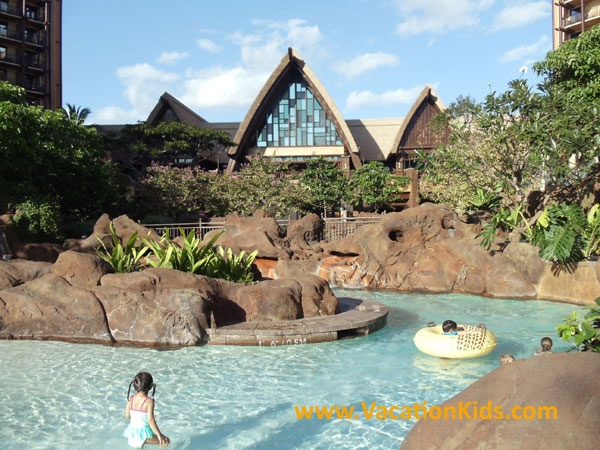 The Waikolohe Valley is the huge water feature and pool area that streches from the lobby at Disney Aulani right to the edge of the beach