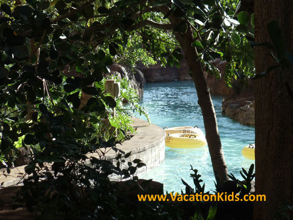 The Waikolohe Lazy River at Disney Aulani winds its way thru lush gardens while refreshing guests.
