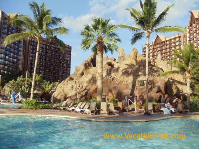 Volcano water slide in the Waikolohe valley water park area of Disney Aulani resort