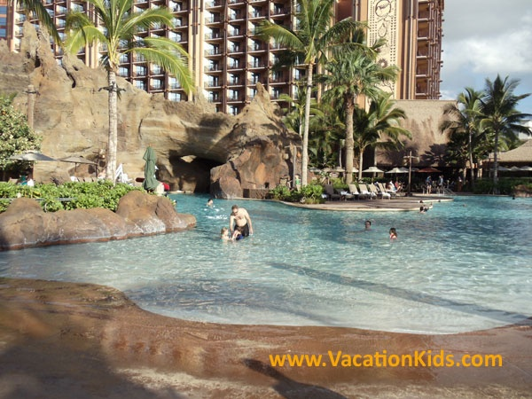 82,000 foot zero entry pool for guests to enjoy at the Disney Aulani Resort