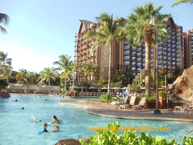 View of the zero entry pool at Waikolohe valley in the center of the resort