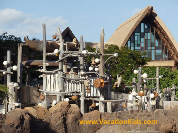 The Menehune bridge is a part of the waterpark play area at Disney Aulani Resort