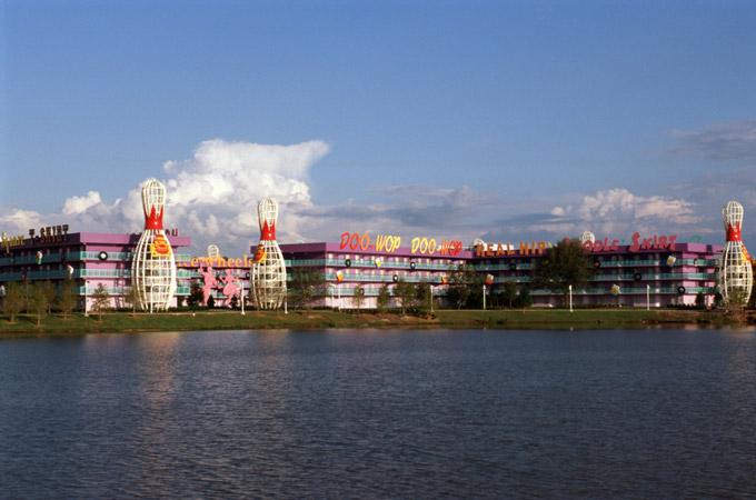 View of Disney's Pop Century Resort from across Hourglass lake.