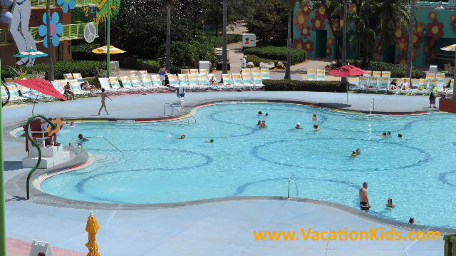 A view of the Hippy Dippy Pool which is the centerpiece of Disney's Pop Century Resort