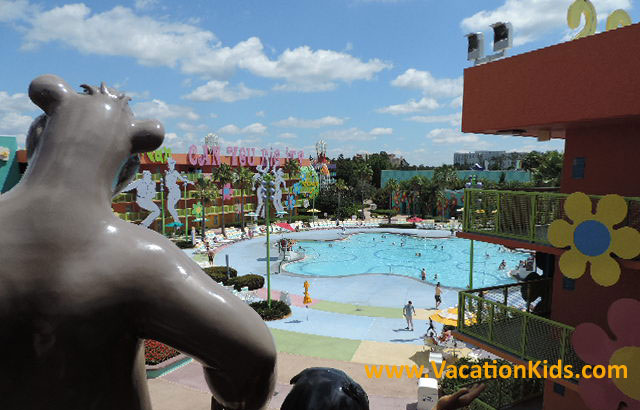Moguli and Blu overlook the Hippy-Dippy pool located in the 1960's section of the Pop Century Resort