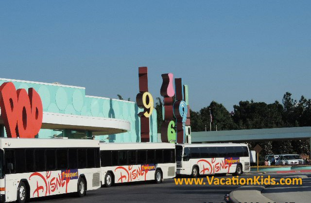 Guests at Disney's Pop Century Resort can enjoy Disney transportation to the theme parks and Downtown Disney