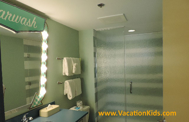 Master bathroom for grown ups is one of two bathrooms in the Cars suites at Disney's Art Of Animation Resort