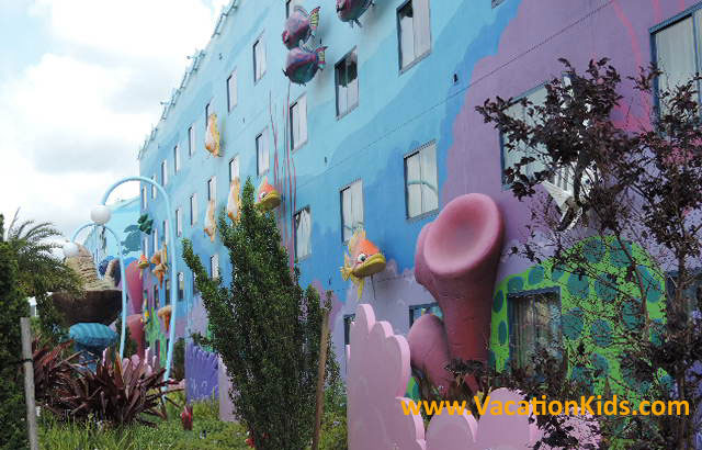 Colorful views Of Nemo room buildings at Disney's Art of Animation Resort