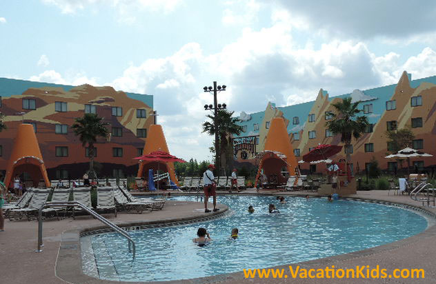 A replica of Route 66 pool is the centerpiece of the Cars rooms at Disney's Art of Animation Resort