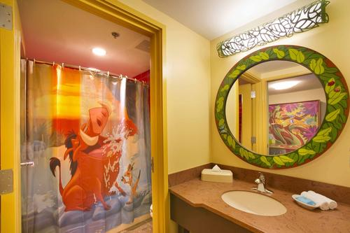 A view of one of the two bathrooms in the Lion King Suites at Disney's Art Of Animation Resort