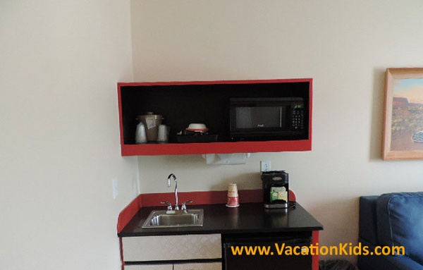 Family suites at Disney's Art Of Animation Resort offer a wet bar, mini fridge, Microwave and coffee maker.