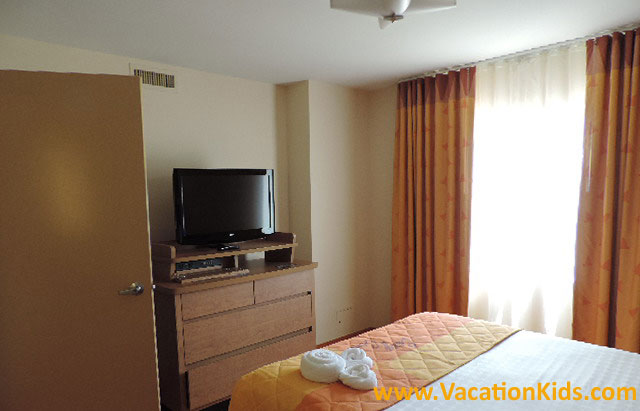Parents can enjoy a bit of privacy with a master bedroom to themselves at Disney Art Of Animation REsort