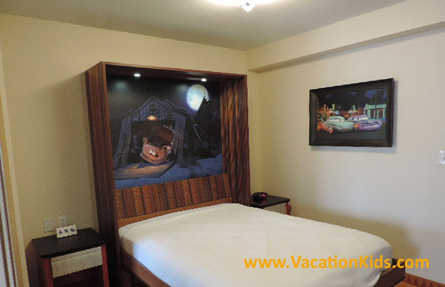 A dining table converts into a double bed in the family suites at Disney's Art Of Animation Resort