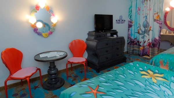 Little Mermaid Rooms at Disney Art Of Animation resort offer whimsical decor making you feel like you are part of Arial's world under the sea.