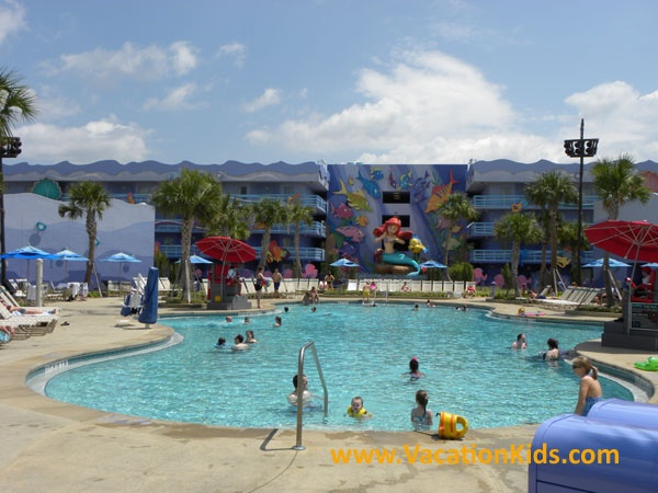 In the Little Mermaid section of Disney's Art of Animation resort there are 3 buildings of rooms that surround the little mermaid pool