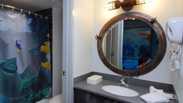 Photo of one of two bathrooms in the Finding Nemo Family Suites at Disney's Art Of Animation Resort