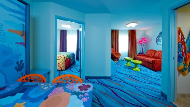 The Finding Nemo Family Suites at Disney's Art Of Animation Resort give families 565 sq. feet of space to stretch out in.