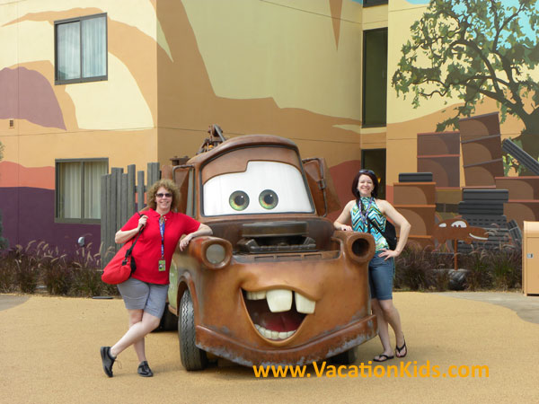 Vacationkids Sally Black & Becca Bell welcome you to disney's Art of Animation Cars...or wait, maybe it's the Cozy Cone Motel?
