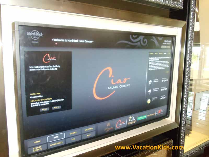 Computer navigation screens at the Hard Rock Hotel help guests enjoy the most fun during every minute of their stay