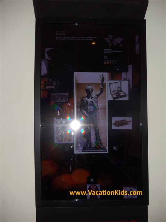 Computer displays explain all of the Rock & Roll memorabilia on display at the Hard Rock Cancun