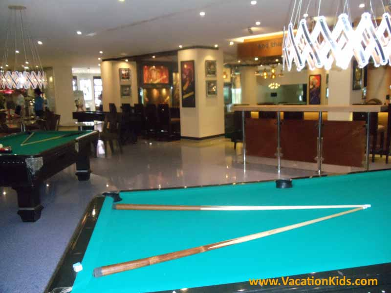 Lobby bar complete with lots of game tables at the Hard Rock Cancun Hotel All Inclusive Resort