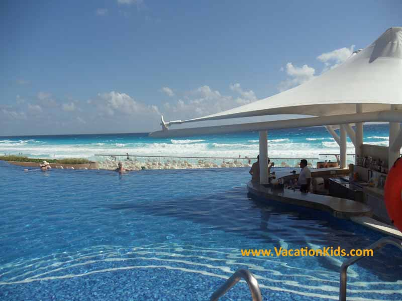 Pool bar and endless pool at the Hard Rock Cancun Hotel