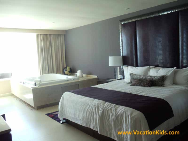 Bedroom of the Rock Star Suite at Hard Rock Cancun Hotel all inclusive family resort