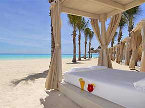 Omni Cancun Hotel and Villas Beach bed view of the Ocean