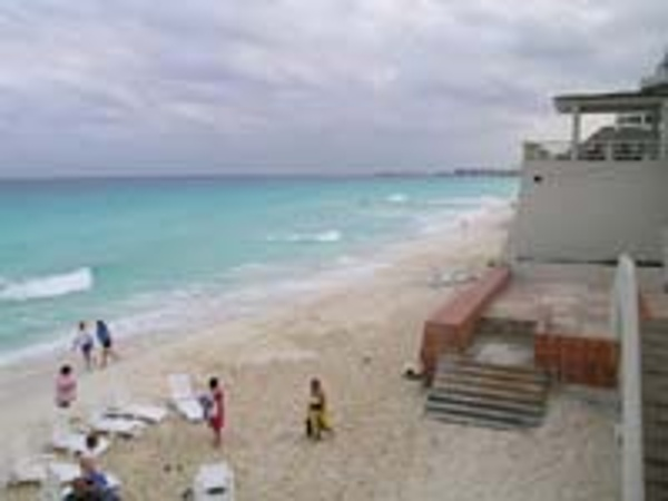 View of Cancun Beach from Crown Paradise Hotel pool deck