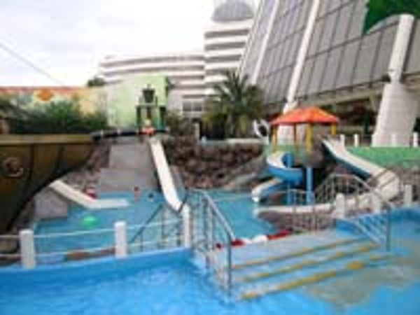 View of children's water park from the pool area of the Crown Paradise Hotel Cancun