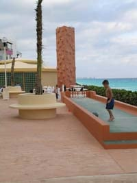Teen club at the Crown Paradise Hotel in Cancun complete with bowling and rock climbin wall