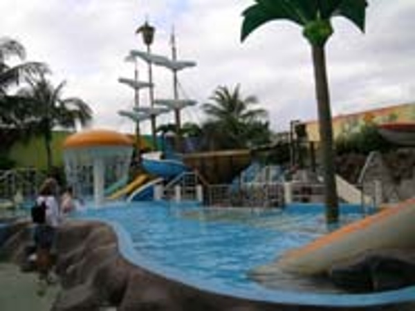 View of Children's water park at the Crown Paradise Hotel Cancun complete with pirate ship