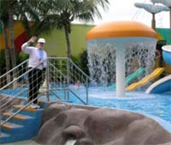 Sally Black from vacationkids visiting kids water park at the Crown Paradise Hotel Cancun