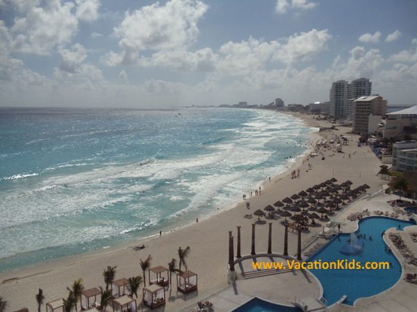 View of Cancun beach from Ocean view guest rooms at the Krystal Hotel Cancun