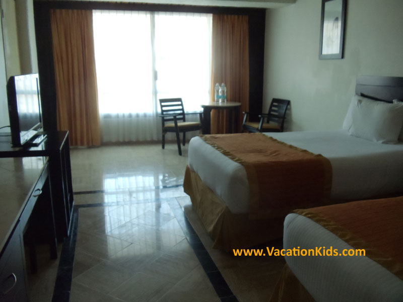 Guest rooms at the Krystal Hotel Cancun. Family suites here are family of 5 and 6 friendly