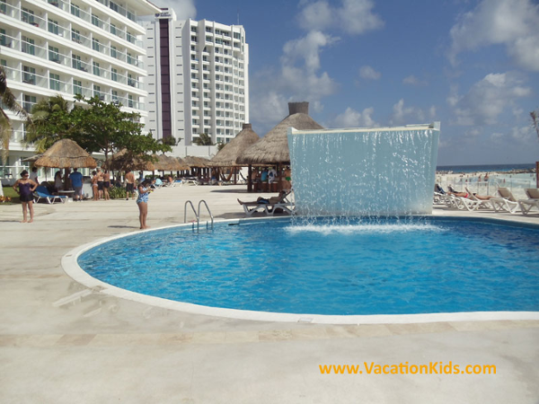 Main pool and relaxing waterfall feature at the Krystal Hotel Cancun