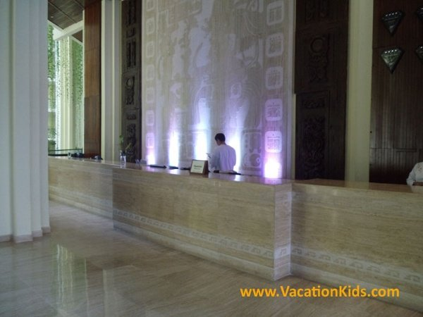 Front lobby desk at the Paradisus Cancun all inclusive family resort