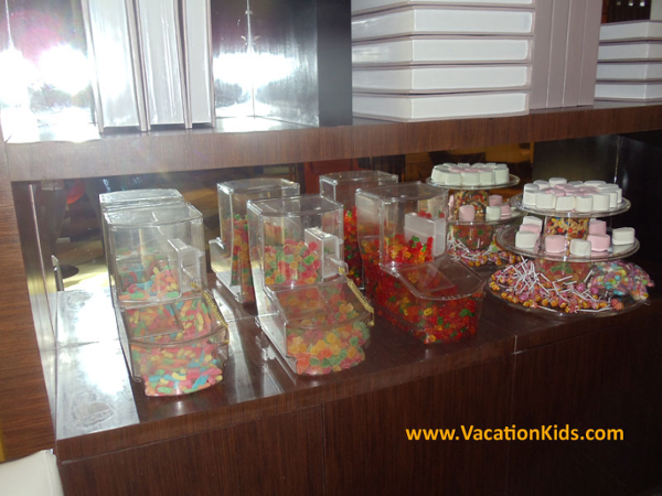 Candy buffet for kids at the family concierge check in at the Paradisus Cancun all inclusive resort.