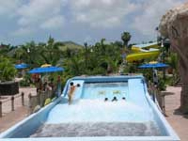 Beaches Turks & Caicos Flowrider surfing simulator at the Pirates Waterpark here.