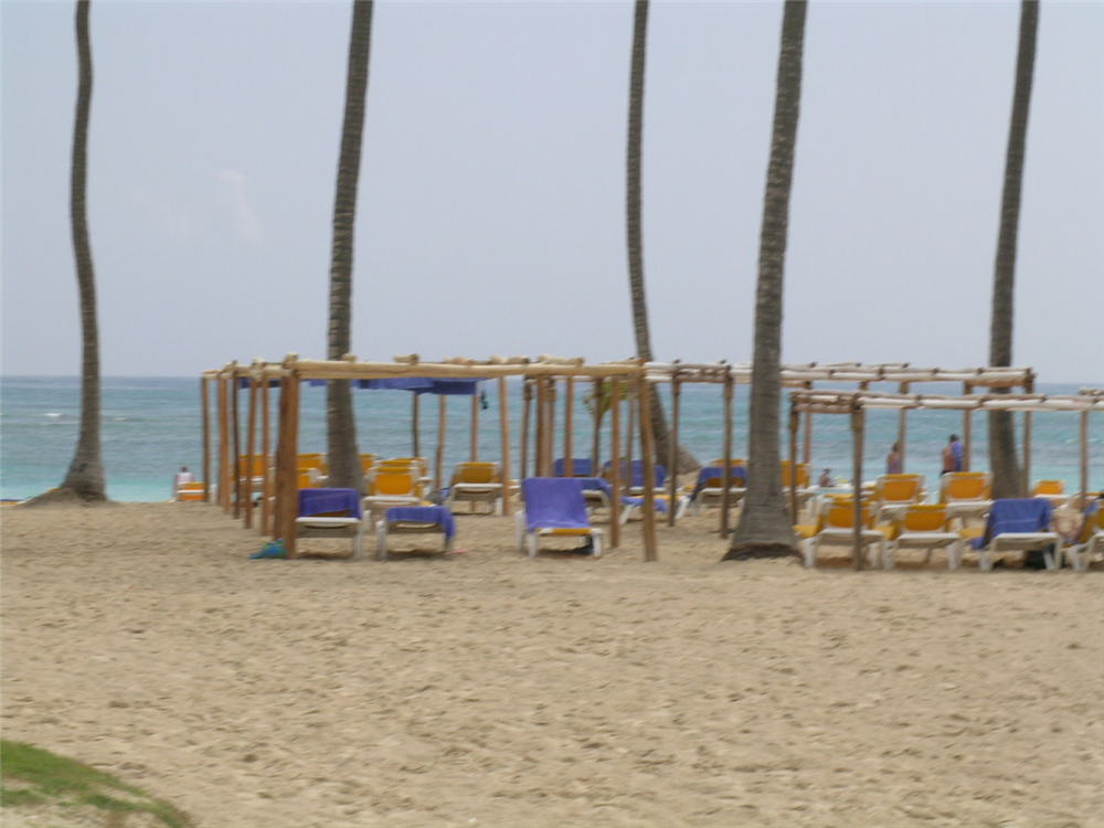 Canopy palapas on the beach at the Ocean Blue resort
