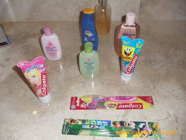 Family concierge room kids bath amenities at the Paradisus La Esmeralda