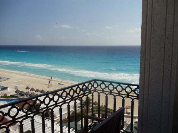 Cancun beach view left from guest room balconies