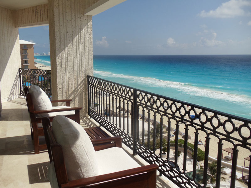 Beach View from the Presidential balcony suite at Sandos Cancun