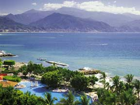 Views of Bandaras Bay and Sierre Madres Mountains from the guest rooms of the Melia Puerto Vallarta
