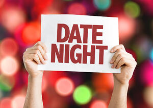 Date Night card with bokeh background
